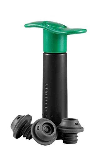 LE CREUSET WA 137 Set con pompetta Tappi Assortiti, Conservazione del Vino, Plastic, Verde (Policarbonato)