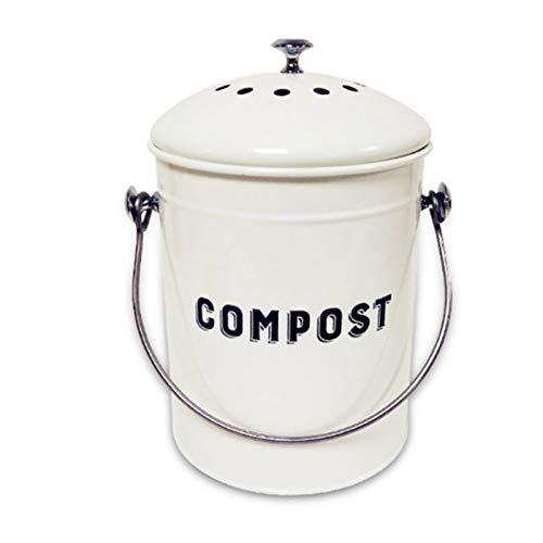 Contenedor De Residuos Alimentarios Para Cocina Con Lid Encimera Papelera De Compost Cubo De Compost Para El Guardián De Los Desechos Interiores Contenedor De Composter Limpieza F-Blanco 1.3 galones