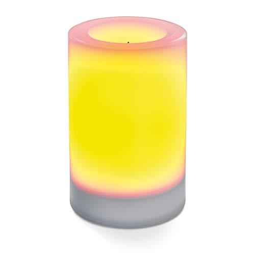 Flammenlose Solar LED-Kerze für Outdoor - (D x H) 100 x 150 mm - unsichtbar integriertes Solarmodul - gelbe LED mit Flackerlicht - Party Kerzenlicht Solarleuchte esotec 102234