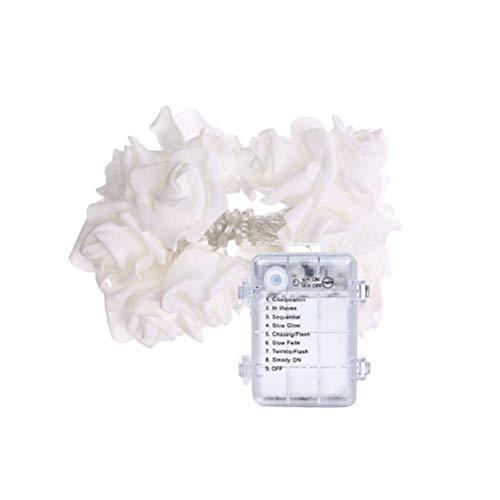 BST&BAO LED Rosen Lichterkette, Batteriebetriebene Rose Flower String Lights Simulation für Hochzeit Home Party Geburtstag Festival Indoor Outdoor Dekorationen, 6M 40LEDS
