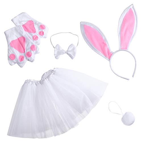 PRETYZOOM 1 Juego de Disfraces de Conejo de Pascua para Niñas Disfraz de Animales para Niños Diadema con Orejas Cola de Pajarita Juego de Patas de Tutú Disfraz de Dibujos Animados Favores