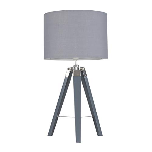 Modern Grey Wood and Silver Chrome Tripod Table Lamp with a Grey Cylinder Light Shade - Complete with a 6w LED GLS Bulb [3000K Warm White]