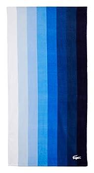 Lacoste Waterfall 100% Cotton Beach Towel 36  W x 72  L Verical Striped Blue