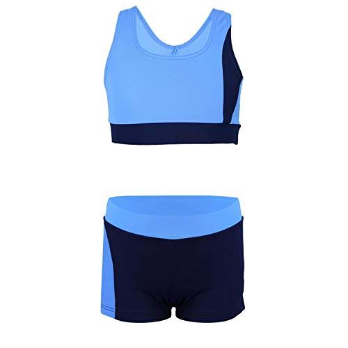 Aquarti Mädchen Sport Bikini - Racerback Bustier & Badehose, Farbe: Dunkelblau/Blau, Größe: 134