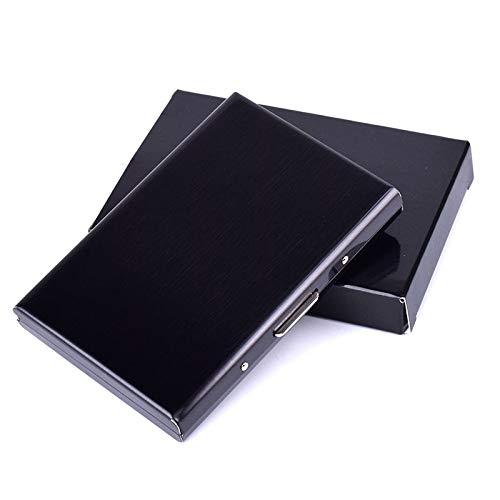 BAYUE identificatiehouder, roestvrijstalen metalen kaartendoos voor mannen vrouwen zakelijke creditcard-houder map afdekking portemonnee aluminium houder zwart