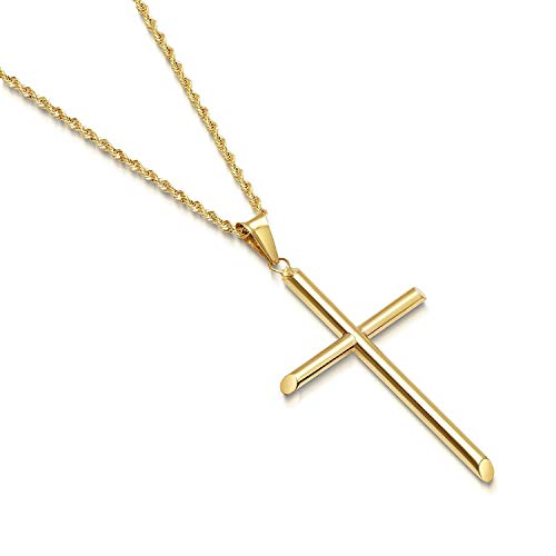 14K Gold Rope Chain Style Cross Pendant Necklace Solid plated Clasp for Men,Women,Teens Thin for Charms Miami Cuban Link Diamond Cut 24' (22.0)
