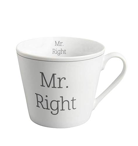 Krasilnikoff - Becher, Tasse mit Henkel - Happy Cup - Mr.Right - ca. 400 ml - Höhe: 9 cm - weiß/grau