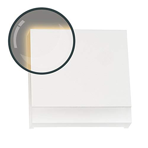 LED Treppenbeleuchtung KID aus Aluminium in weiß eckig für Einbau in Unterputzdose 68mm - Warmweiß 3000K Stufenbeleuchtung