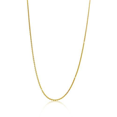 Orovi Damen Ankerkette Halskette 14 Karat (585) GelbGold Anker rund Kette Goldkette 0,8 mm breit 45cm lange