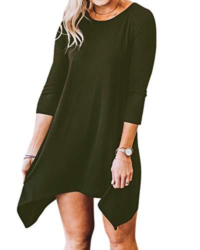 YOINS Bluse Damen Herbst Elegant Langes Shirt Rundhals Lässige Blusen Kurz Tunika Kleid Partykleid Top Grün EU44