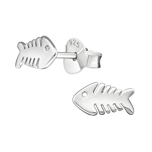 Tata Gisele - Orecchini in argento rodiato 925/1000, motivo: albero/scheletro di pesce, 8 mm