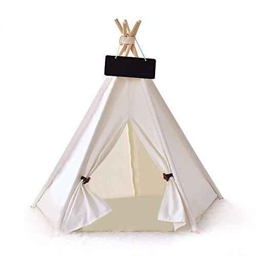 Signstek Zelt für Haustiere50 x 50 x 60(H) cm (+/- 3cm), Katzenzelt, Hunde-Tipi-Zelt, Haustierhütte abnehmbar und waschbar mit Matratze, Weiss