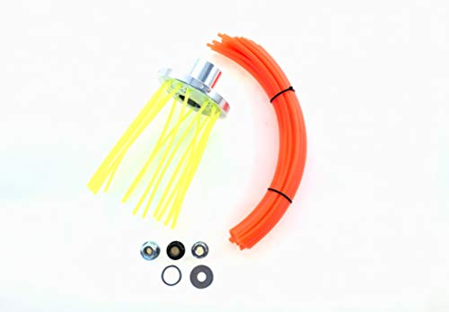 Cabezal de cepillo universal de flexparts para Stihl Dolmar Husqvarna Makita Ua. Con 50 x 4 mm de hilo cuadrado con partículas de aluminio, anillo reductor y tuercas