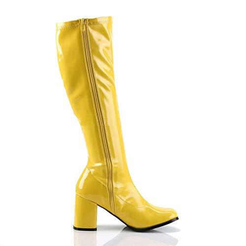 Damen Herren Fancy Dress Party Go Go Stiefel 60er 70er Disco Retro Größe 36-47, Schwarz - Schwarz - Größe: 39 EU