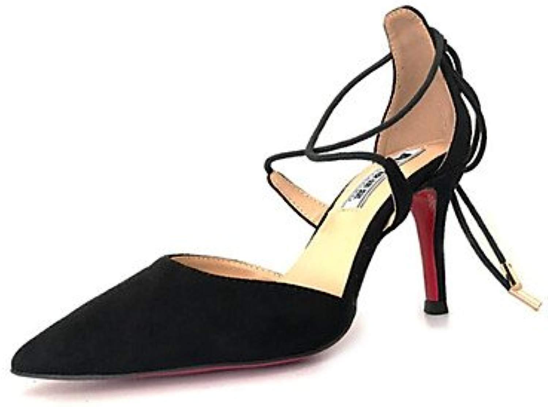 LvYuan-ggx Da donna Tac  Comoda Pelle nubuck Prima  Estate Casual Comoda Nero Rosso Borgogna 5-7 cm, burgundy, us9   eu40   uk7   cn41