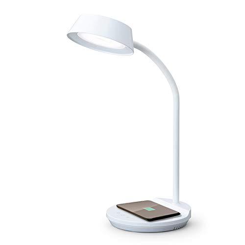 アイリスオーヤマ LEDデスクライト 置くだけ充電 Qiワイヤレス充電 USB給電ポート付 調色3段階 調光無段階 高演色性 LDL-QFDL-W ホワイト