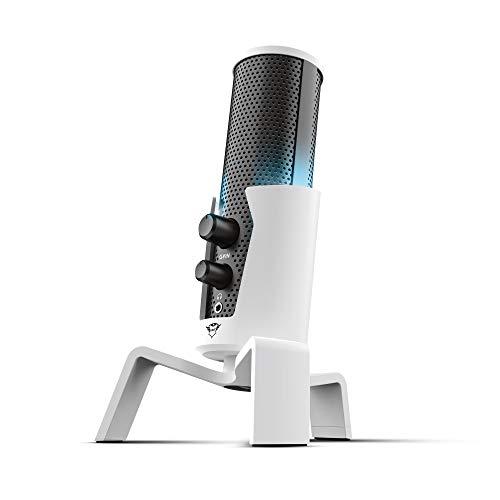 Trust Gaming Micrófono Playstation 5 PS5 GXT 258W Fyru - Micrófono USB Profesional 4 en 1 con Condensador, 4 Patrones de Grabación, Iluminación LED, para Streaming, Youtuber, PS4, PC