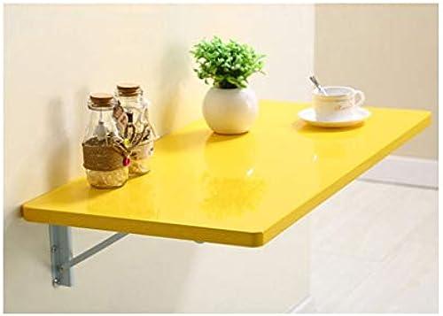 LQQGXLPortabler Klapptisch Wand-Esstisch, Klapptisch, Computer-Schreibtisch, einfach lernen Schreibtisch, (Farbe   Gelb, Größe   80  50cm)