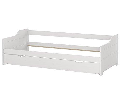 Erst-Holz Bianco Letto-Divano Letto 90x200 Pino con cassettone Senza doghe materassi 60.34-09WoR