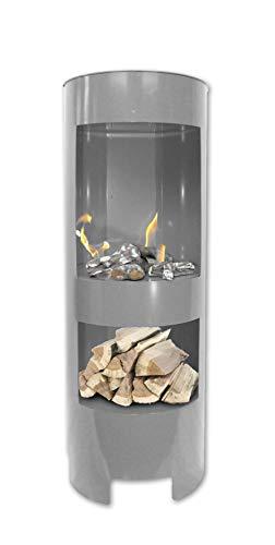 Ethanolkamin Gelkamin Höhe:100cm / Breite:37cm / Tiefe: 35 cm/Säule Kamin Silbergrau mit Holzfach Inklusive: 3 x Brennstoff-Behälter