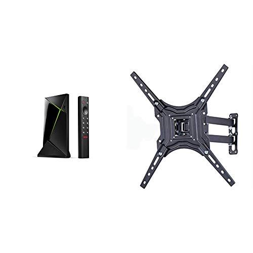 """Nvidia Shield TV Pro (Support Shield Vendu Séparément) & Amazon Basics Essentials Support Mural Mouvement Complet avec Trois Bras, pour télévision, 58,4 à 177,8 cm (23-70"""")"""