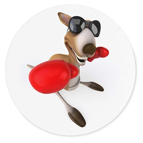 Merchandise for Fans 3D-Känguru mit Sonnebrille und Boxhandschuhen, Mauspad rund aus Textil 20cm, Rutschfester Kautschukrücken, für alle Maustypen