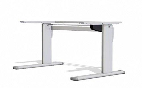 Höhenverstellbarer Schreibtisch TOP-ECO Classic V1. Tischgestell elektrisch stufenlos höhenverstellbar mit 1-stufigen Teleskop-Hubsäulen und einem Motor. TÜV-geprüfter Preis-Leistungs-Sieger.