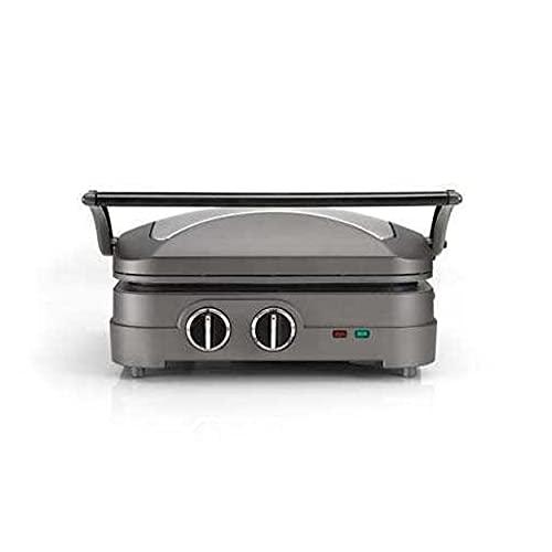 Cuisinart Griddle & Grill Kontaktgrill mit 2 spülmaschinenfesten Gillplatten, Temperaturauswahl bis 240°C, Timer und Abtropfschale, edelstahl, GR47E