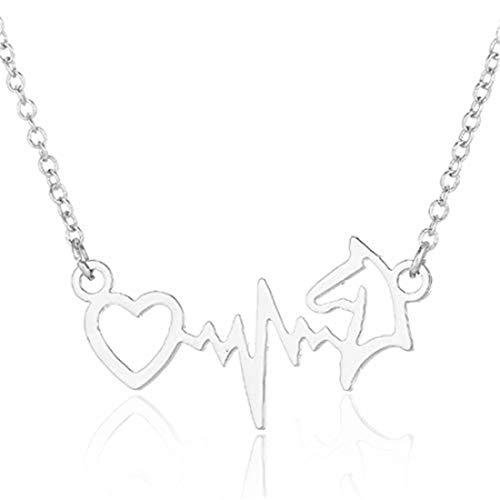 Electrocardiogram ECG Horse Pendants Necklaces Choker Collars Women Vintage Horseshoe Animal Wedding Jewelry Silver