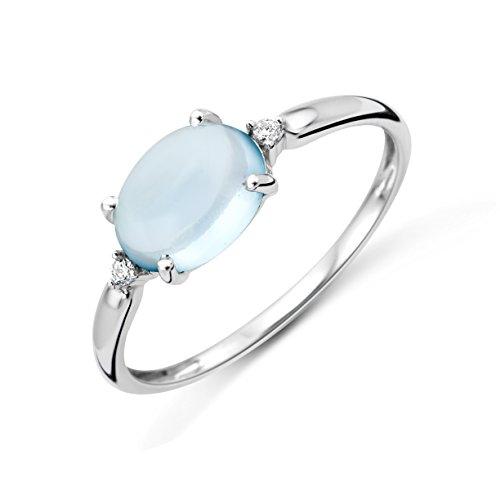 Miore Anello Donna Topazio Blu con Diamanti taglio Brillante Oro Bianco 9 Kt / 375