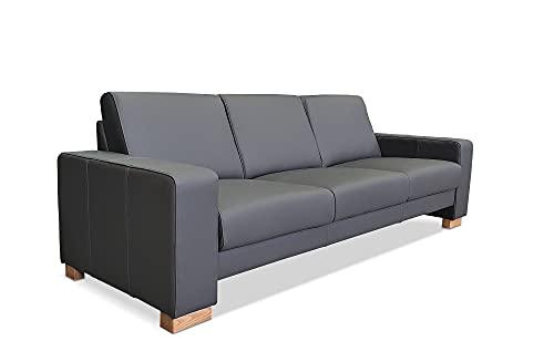 Sofá de 3 plazas Atlanta de piel auténtica gris oscuro, extra ancho de 230 cm, piel auténtica Toledo en gran selección de colores.
