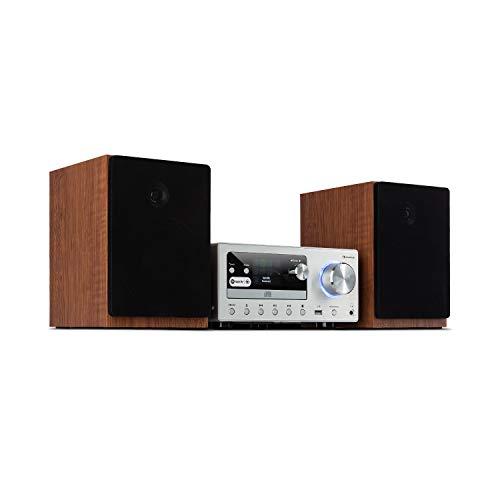 auna Connect System - Equipo de música, 2 Altavoces estéreo, Radio por Internet Dab+ FM, Reproductor de CD, Puerto USB, Compatible con MP3, Bluetooth, Spotify Connect, Mando a Distancia, Plateado