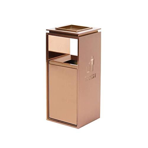 1yess Mülltonne aus Edelstahl Outdoor-Mülleimer-Mülleimer-Mülleimer-Dose (Color : Rose Gold, Size : Large)