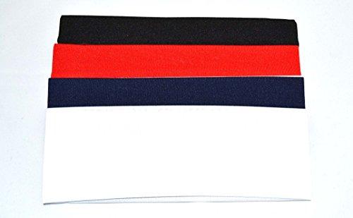 Lot de 4 bandeaux à cheveux de 7 cm. Blanc rouge bleu marine et noir. Livraison GRATUITE