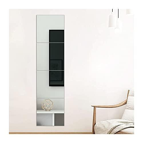 Muzilife Specchio da parete in vetro, 30 x 30 cm, 4 pezzi con 4 adesivi per specchio da parete, set in cucina, soggiorno e bagno