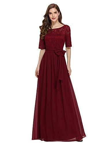 Ever-Pretty A-línea Encaje Talla Grande Vestido de Fiesta Cuello Redondo Largo para Mujer Borgoña 58