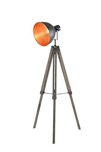 Staande lamp op statief, industriële look, hout & metaal, draaibare scherm, verkoperd, designlamp, trendy – studio-look Grand