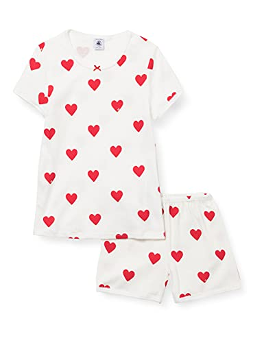 Petit Bateau A00KG03 Pajama Set, Marshmallow/Terkuit, 10 Ans Girls