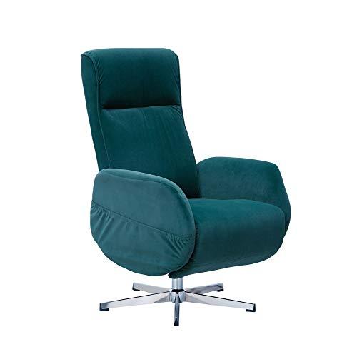 Wohnling Sillón de relax con función de masaje, terciopelo verde, sillón de descanso eléctrico ajustable, sillón con función reclinable, cómodo sillón de relajación