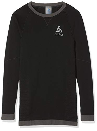 Odlo Kinder BL TOP Crew Neck l/s Performance WARM Kids Unterhemd, Black Graphite Grey, 140