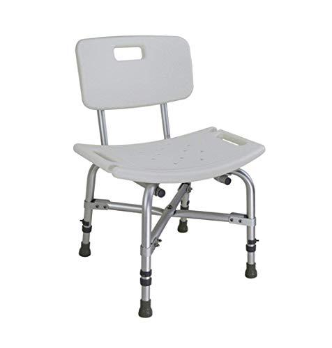 LHQ-HQ Badhocker Bad Hocker Bad Stuhl for schwangere Frauen und Aluminiumlegierung Duschsitze Hocker ältere Behindertengerechte Toilette Sicherheits Stuhl mit Rückenlehne - Weiß - Tragfähige 226kg Dus