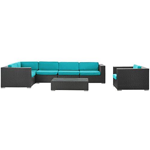 Big Sale LexMod Corona 7-Piece Outdoor Rattan, Espresso with Turquoise Cushion