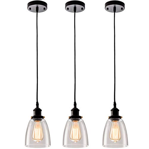Kitchen Mini-Pendant Light Clear Glass Hanging Adjustable Nylon Core Ceramic Holder Industrial Island Lighting Fixture Indoor for Dining Room Entryway Loft (Bulb Not Included) (3 Packs)