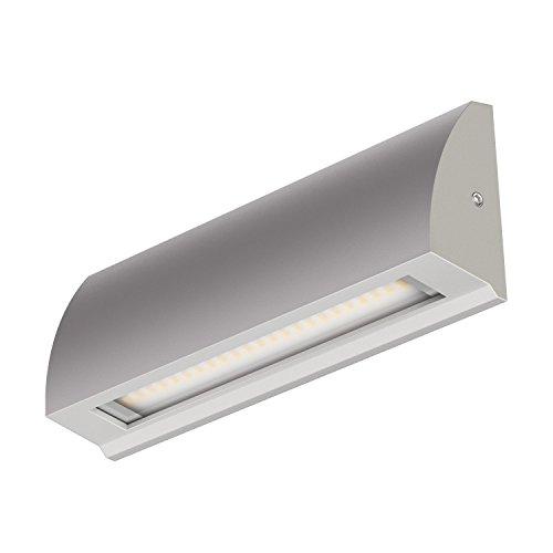 ledscom.de LED Wand-Leuchte Segin Treppenlicht für innen und außen, flach, Aufbau, Silber-grau, warm-weiß, 400lm