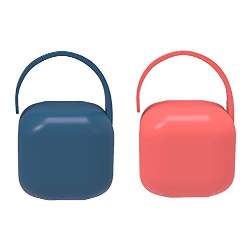 CYJZHEU Portachupete para Bebé,para Llevar 2 Chupetes, Caja Portachupetes Portátil, Funda para Chupetes, Diseño Vintage, Color Azul,rojo