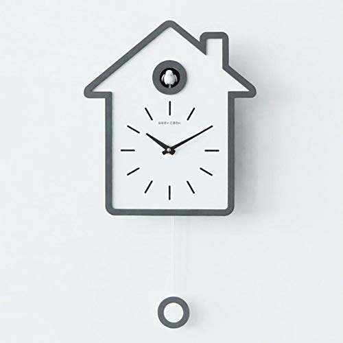 LOISK Moderne Kuckucksuhr,Birdhouse Aus Holz, mit Pendel Wanduhr Design modern Pendeluhr Kuckuck Uhr Nachtruhe Chronometer,Grau