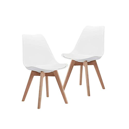 CangLong Mid Century Modern DSW Side Chair with Wood Legs for Kitchen, Living Dining Room, Set of 2, White