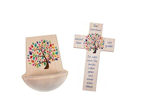 MaMeMi Geschenke-Set mit Weihkessel und Taufkreuz, 15cm, Natur Lebensbaum
