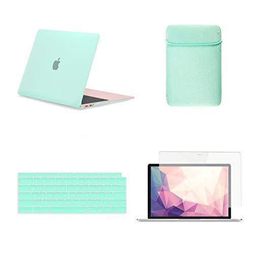 TOP CASE 4 in 1 Bundle - Estuche rígido, funda para teclado, funda, protector de pantalla para el MacBook Air 13 pulgadas de 2018 con pantalla Retina para Touch ID Modelo: A1932 - Verde