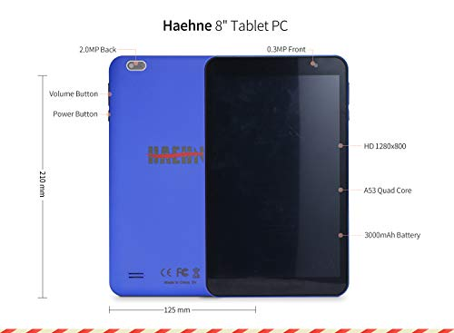 Haehne Tablet PC 8 Zoll - Android Tablet 1280x800 HD, Google Android 9.0 System, Zwei Kameras, Quad Core 2GB+32GB, GMS Zertifiziertes, Blau